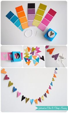 This is a cheap and frugal decoration – Paint Chip Garland  and Valentine Home Decor Ideas on Frugal Coupon Living.