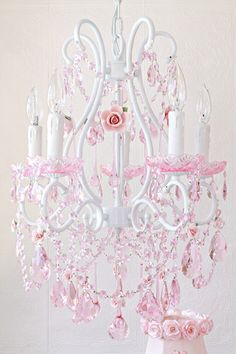 5-Light Fairytale Chandelier with Pink Crystals & Porcelain Roses
