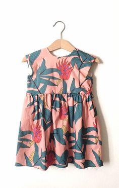 Little Girls Handmade Tropical Print Dress | HelloTalaria on Etsy