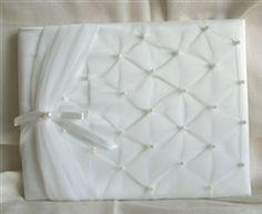 Ivory guest book GBI29 Ivory White, Camellia, Country Of Origin, Wedding Accessories, Beads, Fabric, Color, Style, Beading