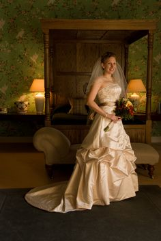 Helen getting ready to leave in the Martyn Suite in Gregans Castle Destination Wedding, Wedding Venues, One Shoulder Wedding Dress, Ireland, Castle, Weddings, Wedding Dresses, Wedding Reception Venues, Bride Dresses