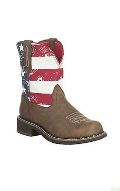 Ariat Women's Brown with American Flag Upper Fatbaby Boots   Cavender's