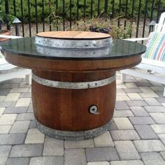 Propane Wine Barrel Fire Pit With Customized Top.