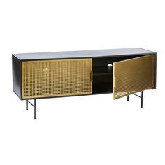 Gold and Black Metal TV Cabinet Jagger on Maisons du Monde. Take your pick from our furniture and accessories and be inspired! Simple Furniture, Steel Furniture, Deco Furniture, Cabinet Furniture, Furniture Design, Art Deco Living Room, Cosy Lounge, Cabinet Shelving, Drinks Cabinet