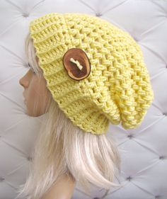 Crochet Slouch Hat Yellow etsy ladies hat teenager by HookMadness, $30.00