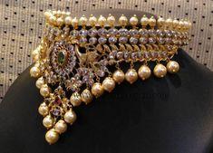 Light Weight Gold Choker Designs, Light Weight Pearl Choker Designs.