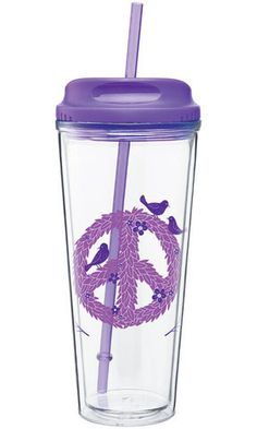 Natural Luxe - vessel drinkware - purple peace wreath to go cup $9