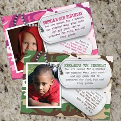 Army / Dog Tags / Camouflage - Birthday Photo Invitations - Print Your Own Camouflage Party, Camo Party, Kids Birthday Party Invitations, Birthday Party Themes, Birthday Ideas, Army Themed Birthday, 7th Birthday, Photo Invitations, Birthday Photos