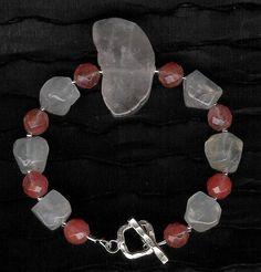 Bracelet  Rose Quartz Cherry Quartz Sterling by ChicStatements, $30.00