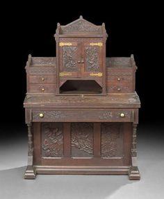 c1880 Aesthetic desk, Cincinnati Art Mvt, wal, 62t, 12-2,6.