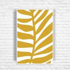 Tropical Leaf Art Print, Palm Leaf Print, Gold Decor, Large Art Print, Gold Wall Art, Palm Tree Decor, Tropical Decor, Wall Art Print by OjuDesign on Etsy
