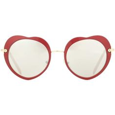 Miu Miu Heart Sunglasses ($295) ❤ liked on Polyvore featuring accessories, eyewear, sunglasses, glasses, red, red glasses, heart shaped glasses, heart shaped sunglasses, red heart shaped glasses and heart glasses
