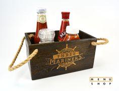 Engraved Vintage condiment holders for Three Mariners by MenuShop Cafe Shop, Cafe Bar, Menu Design, Wood Design, Condiment Holder, Menu Holders, Wooden Basket, Oyster Bar, Drink Table