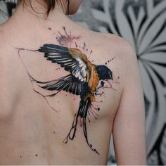 Shoulder Tattoo of Bird is listed (or ranked) 7 on the list Breathtaking Watercolor Tattoos You've Gotta See