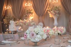 The bride wore Vera Wang at this Hazelton Manor wedding - WedLuxe Magazine Small Wedding Centerpieces, Wedding Table Flowers, Flower Centerpieces, Reception Decorations, Centerpiece Ideas, Luxe Wedding, Dream Wedding, Wedding Events, Weddings