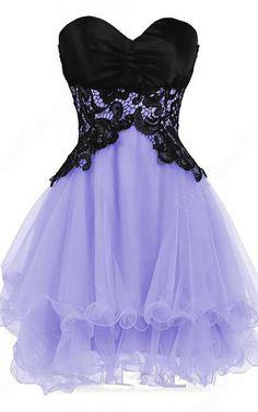 Lavender Sleeveless Sweetheart Mini Organza Princess Appliques Lace Strapless Short Homecoming Dress