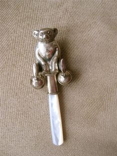 Antique Sterling (925) Baby Rattle with Mother of Pearl Teether, Figural Bear
