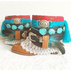 Boheemse Upcycled laarzen Boho Boots Gypsy door FlowersInMyHairShop