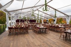 50' wide clear structure tent with wood floor