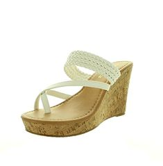 cdd81ef82d8b0 Women s Open Toe Wedge Sandals White Upper with Cork Sole