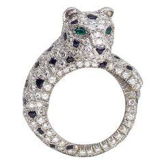 Cartier Paris Sapphire Diamond Platinum Panthere Ring
