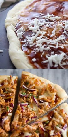 No restaurant pizza compares to this easy homemade BBQ Chicken Pizza made with bbq sauce, mozzarella, chicken, red onions and cilantro on perfect homemade pizza crust. Bbq Pizza Recipe, Pizza Recipe Video, Chicken Pizza Recipes, Flatbread Pizza Recipes, Bbq Chicken Flatbread, Healthy Chicken, Barbeque Chicken Pizza, Pizza With Chicken, Pizza Barbacoa