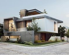 Por EBA Architecture (With images) Modern Exterior House Designs, Modern House Facades, Modern House Design, Exterior Design, Bungalow House Design, House Front Design, Villa Design, Facade Design, House Architecture Styles