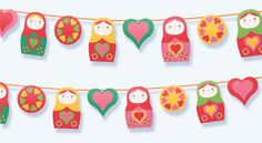 Russian Doll printable garland by happythought on Etsy