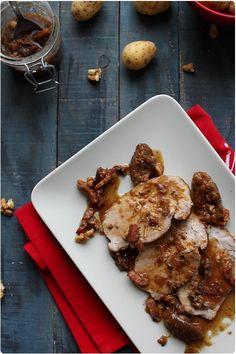 R�ti de porc � la confiture de figues aux noix et lardons fum�s