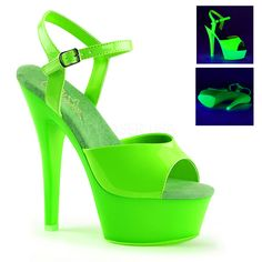 """Nice Footwear, Boots & Shoes KISS-209UV, 6"""" Heel Ankle Strap Sandal Neon Uv Reactive just added..."""