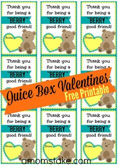 Free printable valentine's day cards to hand out for as classroom Valentines! Can be paired with a juice box or any other berry flavored item for a cute handout and treat!