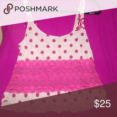 Sheer camisole Light and bright pink sheer camisole with LCD and polka dot detailing cabernet Intimates & Sleepwear
