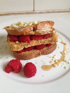 French toast (whole meal bread) stack with raspberries, macadamia crumbs and lime zest...not forgetting the Maple Syrup!