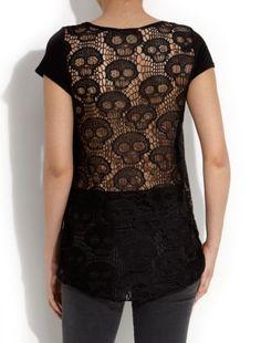 Black (Black) Black Skull Lace T-Shirt | 257259901 | New Look