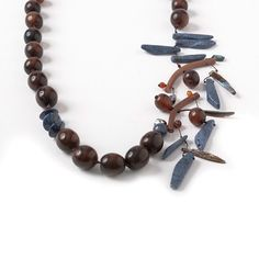 Brown Horn Long Necklace & Blue Coral From by natartg on Etsy, €75.00