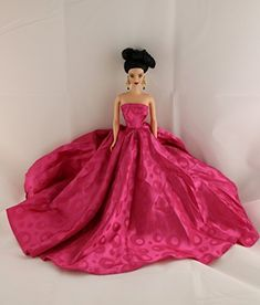 A Long Gown in Bold Pink with a Circle Patterned Fabric Made to Fit Barbie Doll. #Long #Gown #Bold #Pink #with #Circle #Patterned #Fabric #Made #Barbie #Doll