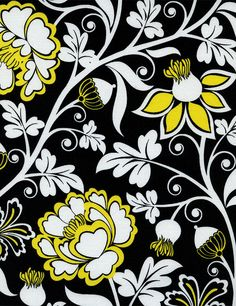 Black White and Yellow Floral Fabric - Timeless Treasures - taxi collection