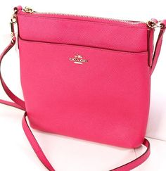NWT Coach 52348 Coach Pink Ruby Textured Leather North South Swingpack #Coach #MessengerCrossBody
