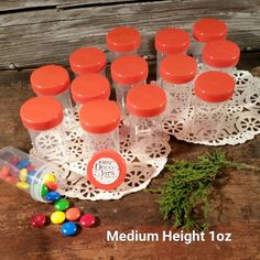 "100 Pill Jars 2+"" tall Screw on Orange Cap 1 ounce Favor Size Container 3812 USA #Decojars"