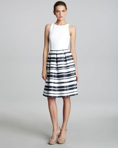 Gojee - Combo-Stripe Skirt Dress by Carmen Marc Valvo