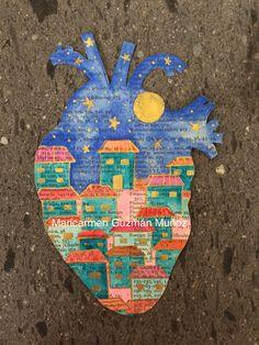 Corazón de bolsillo Casitas por LiveyourdreamsArte en Etsy