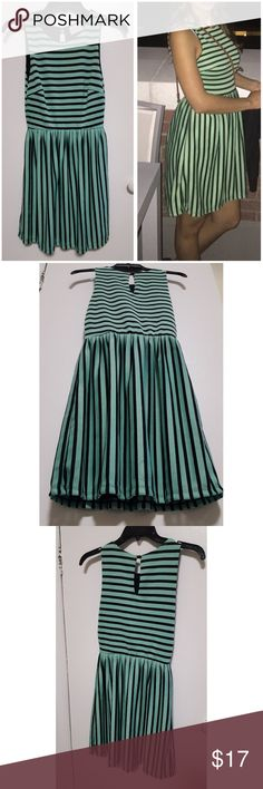 """Striped midi dress, size small Worn only 1-2 times, like NEW condition. Hits right above the knee for me, I'm 5'4""""  Brand: Beverly X  Purchased from Nordstroms   Colors are mint green and black. Stripes are horizontal for top and vertical for skirt portion of the dress. Great for special occasions, job interview, weddings, professional events.   Feel free to ask questions. Smoke and pet free household beverly x Dresses Midi"""