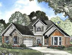 Home Plans HOMEPW19142 - 2,041 Square Feet, 4 Bedroom 2 Bathroom French Country Home with 2 Garage Bays