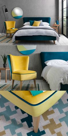 ELSTED OCCASIONAL CHAIR - NOSTALGIC MOOD  Bring a bit of 1950s glamour and style to your home with the Elsted upholstered cocktail chair. Compact design, comfy seating and clean lines make Elsted a stylish addition to your home. Contrasting shades of zesty yellow and sumptuous teal are chosen for the upholstery of the Elsted Chair and create a bold mid-century inspired statement piece for the room.Moods for all styles and tastes, we deliver beautiful handcrafted furniture and home décor…