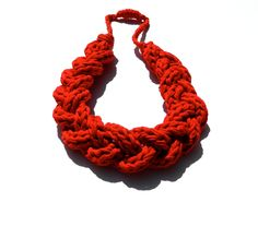 Eco Friendly Jewelry Statement Necklace - Upcycled T Shirt - Extra Large Size Braided Fabric Yarn - Bright RED.