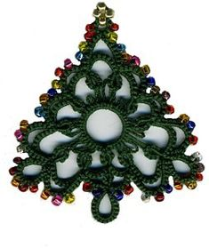 beaded tatting - Christmas tree stitchin29 beaded tatting - Christmas tree…