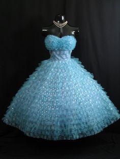 Vintage 1950's 50s STRAPLESS Bombshell Turquoise Prom Dress by VintageVortex, $499.99