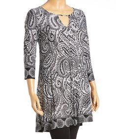 Look at this #zulilyfind! Black & White Paisley Notch-Neck Tunic - Plus #zulilyfinds