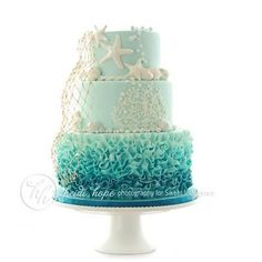 Ombre Ocean Cake…would be great in coral tones, too! Ombre Ocean Cake…would be great in coral tones, too! Ocean Cakes, Beach Cakes, Beach Birthday Cakes, Teen Birthday Cakes, 17th Birthday, Birthday Ideas, Beautiful Cakes, Amazing Cakes, Beautiful Ocean
