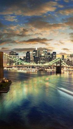 New York City skyline after sunset. View from Manhattan Bridge to Brooklyn Bridge over East River Ponte Do Brooklyn, Brooklyn Bridge New York, Manhattan Bridge, Lower Manhattan, Manhattan Skyline, Brooklyn Nyc, Brooklyn Heights, Manhattan City, S4 Wallpaper